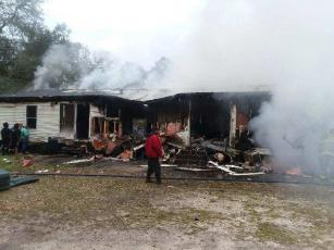 This fire completely destroyed the home of Screven Council member Lee Stevenson Saturday afternoon. Efforts to support the Stevenson family are underway by Screven citizens and a Facebook fundraiser started by Jeremy Dent.