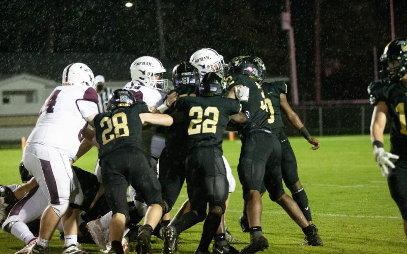 The Yellow Jacket defense played strong against against South Effingham. The Mustangs mustered only 157 total yards in the game with 75 coming on the final two drives, when primarily backups and junior varsity players were in the game.